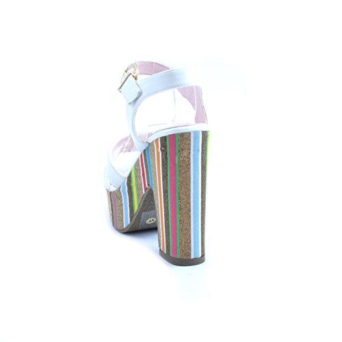 Blanc DE DE 11 Rayé en Plateau Swish Confortable Sandales Cuir Femme à cm Talon Fermeture et Multicolore 5 et cm Cheville 4 IUfwCpUq
