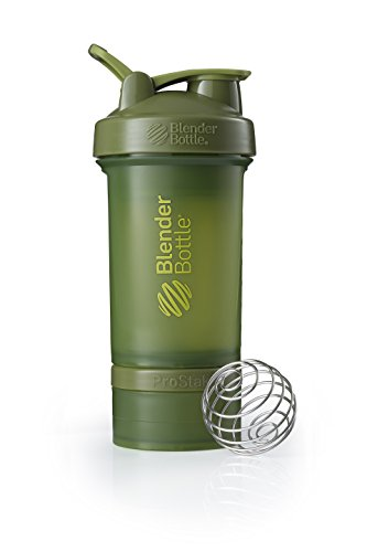 BlenderBottle ProStak System with 22-Ounce Bottle and Twist n' Lock Storage, Moss Green ()