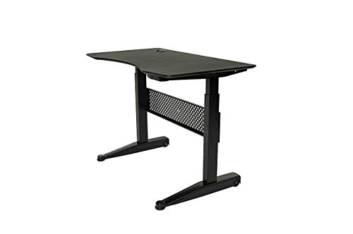 ApexDesk AirDesk Series 47×27 Movable Sit Standing Desk, Pneumatic Height Adjustable from 29 to 48 47×27 Textured Black Top, Black Frame