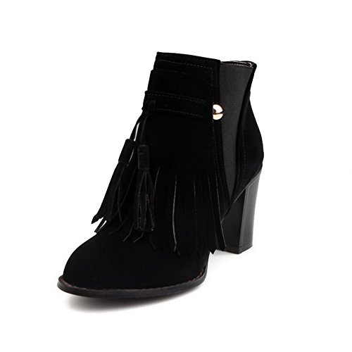 Women's Frosted Round Closed Toe Solid Low-Top High-Heels Boots with Tassels