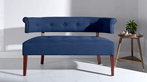 Jennifer Taylor Home Jared Collection Modern Chic Stylish Hand Tufted Armless Settee Bench with Wooden Legs, Dark Midnight Blue (Curved Settee)