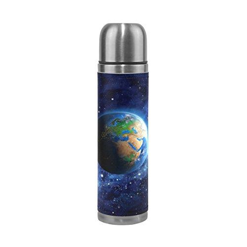 Coosun Planète Terre dans l'espace en acier inoxydable Thermos Bouteille d'eau sous vide Gobelet isotherme anti-fuite double vide pour bouteilles, cuir PU Voyage thermique Mug, 481,9gram
