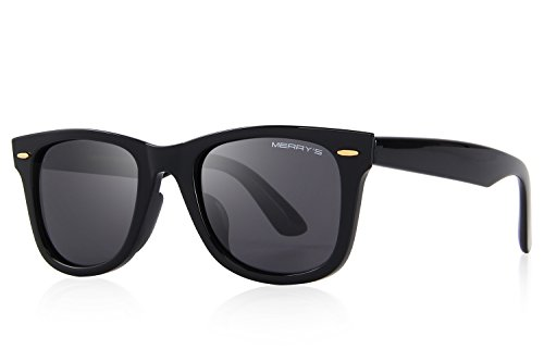 MERRY'S Retro Rivet Polarized Sunglasses for Men 80's Classic Women Sun glasses S8140 (Black, - 80 Off Sunglasses
