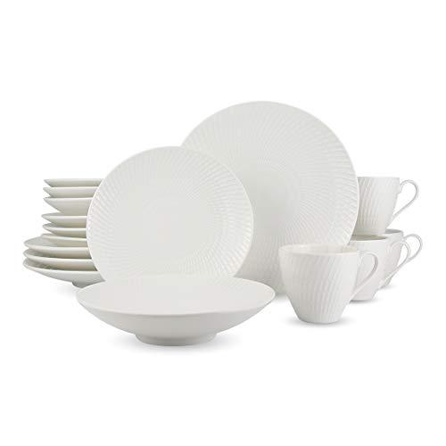 Widea 16-Piece Dinnerware Set, Kitchen White Round Porcelain Dinner Plate Sets for Salad Pasta and Dessert, Plates, Mugs…