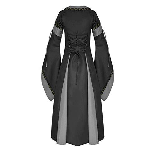 Yingsssq Abiti Inverno Lungo Dress Nero Sleeve large Donna Abito Vintage Da Dimensione Color Xx Oro Fasciatura Casual Nero Flare Wild Mini colore Medieval rO4dqrYw