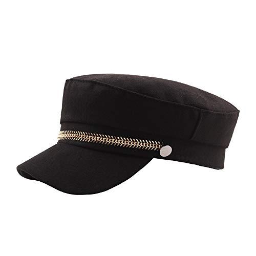Beret Hats Berets for Women Autumn Winter Fashion Ladies Wool Woolen Tide Gold Chain Retro Republic Girl Student Berets Cap WZCUICAN (Color : Black, Size : 56-58CM)