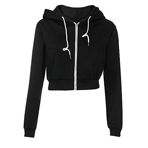 Clearance Deals ! Women Short Sweatshirt,BeautyVan Women Autumn Crop Hoodie Zipper Workout Jackets Tops ()