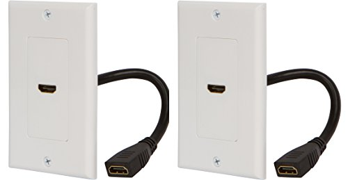 Buyer's Point HDMI Wall Plate with 6-Inch Pigtail (2, White) by Buyer's Point