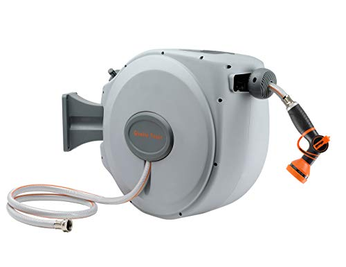 Giraffe Retractable Garden Hose-Reel with 9 Adjustable Sprayer Nozzle 5/8 in. x 65 FT Water Hose, Wall Mount/Auto Rewind