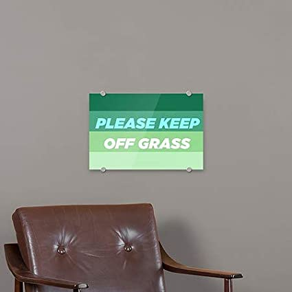 Please Keep Off Grass 5-Pack CGSignLab Nautical Wood Clear Window Cling 30x20
