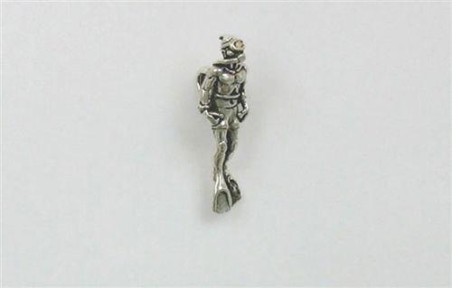 Sterling Silver 3-D Scuba Diver Charm - Jewelry Accessories Key Chain Bracelet Necklace Pendants