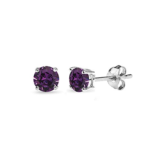 Sterling Silver 4mm Purple Stud Earrings Made with Swarovski Crystals