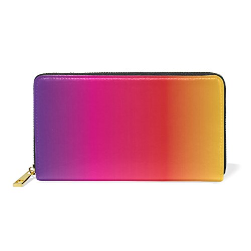 U LIFE Colorful Rainbow Striped Wallets Purse Cash Card Holder Case Leather (Card Striped Case)