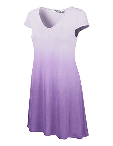 WDR1089 Womens Ombre V Neck Cap Sleeve T Shirt Dress L ()