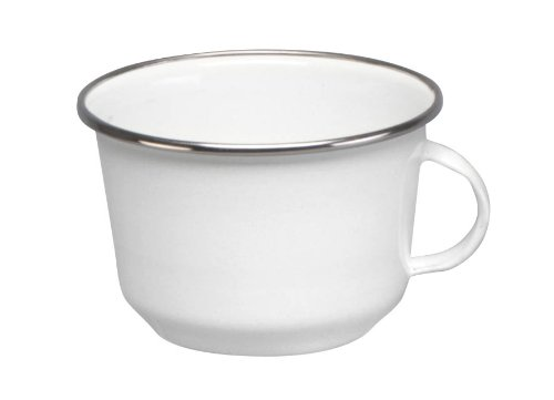Cinsa 312003 Trend Ware Enamel on Steel Coffee Cup, 12-Ounce, White