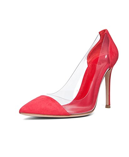 Heel 10cm Stilettos Pointed Dress Toe PVC Womens Eldof Pumps Wedding Transparent Cap Pumps PVC Red Event suede High Shoes qxPPEOX