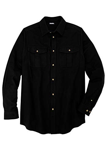 KingSize Men's Big & Tall Solid Double-Brushed Flannel Shirt, Black Big-4XL