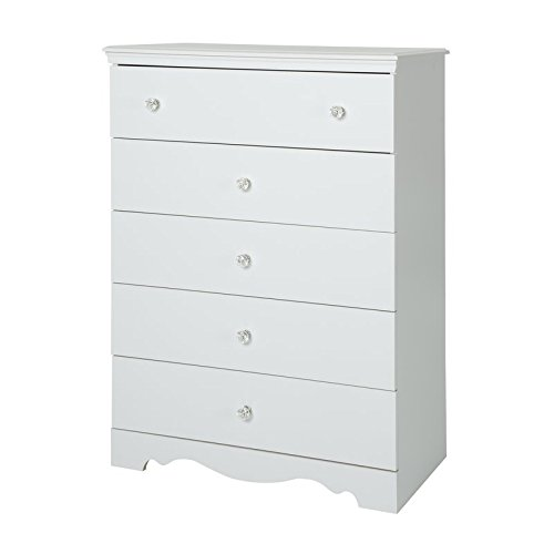 5 Drawer Chest In Pure White Color Made of Angineered Wood and Simple Design Make This Add to Your Bedroom Now
