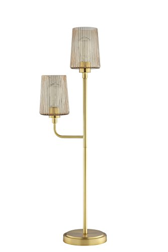 Champagne Ribbed - Catalina Lighting  20620-001 Lucinda Buffet Lamp with Champagne Finish and Iridescent Ribbed Glass Shades, Bulbs Included