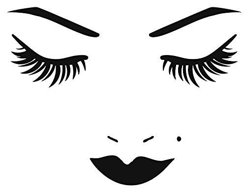 CrazyWEN-Sticker-Vinyl Wall Decal Face Lips Eyelash Beauty Salon Makeup Stickers Large Decor -