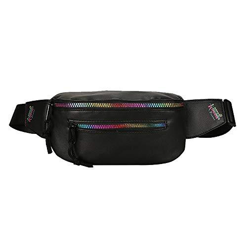 2019 New Style!XGUMAOI Unisex Chest Bag Rainbow Colorful Zipper Bag Waist Bag Crossbody Bag (Black)