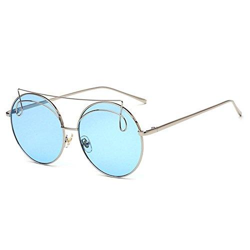 de y europeo sol Gafas metal lentes rana de UV400 redondas Gafas marco e multicolor Opcional estilo espejo RDJM de mujer e americano de Trend para sol R0wFxYq