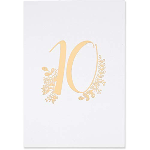 Sweetzer & Orange Gold Table Numbers for Wedding 1 to 25 Elegant Table Number Cards for Weddings, Bar Mitzvah, Quinceanera Decorations, Restaurant and More! Premium Paper Table -