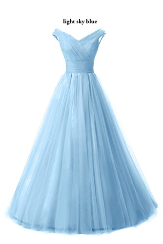 Shoulder Long Formal Prom Skyblue Evening Line Off Gown Light Chupeng Dress Homecoming Tulle pTaEyxO