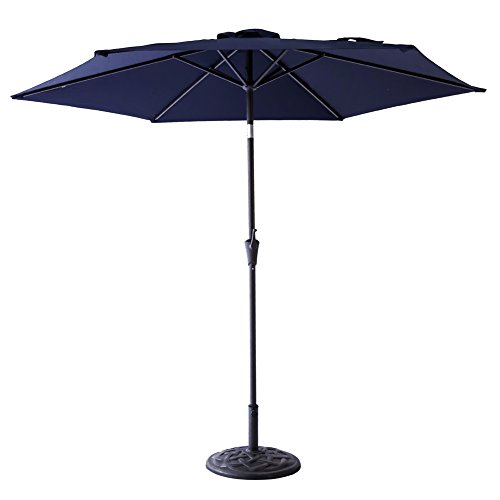 FLAME&SHADE 9′ Market Patio Outdoor Umbrella with Crank Lift, Push Button Tilt, Navy Blue