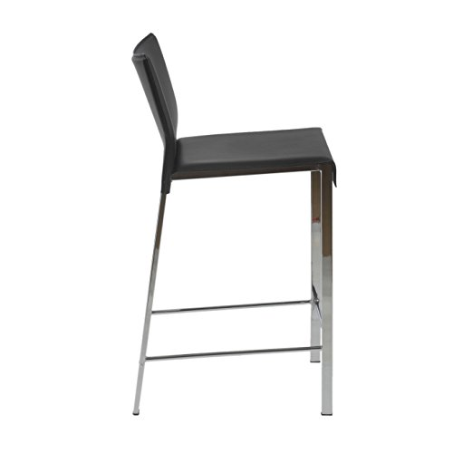 Euro Style Riley Retro Modern Leather Bar Height Dining Chair with Chromed Steel Base, Set of 2, Black