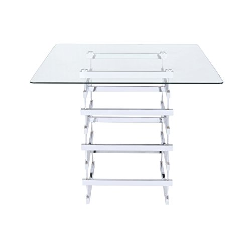 ComfortScape Counter Height Square Table with Clear Glass Top ()