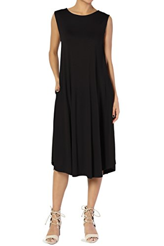 (TheMogan Women's Sleeveless Pocket A-line Fit and Flare Midi Long Dress Black)
