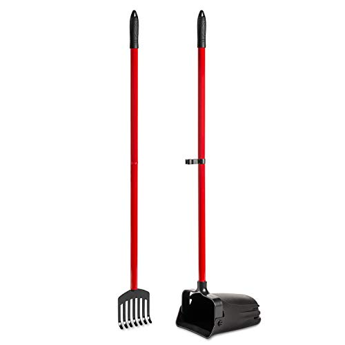 Pikaon Heavy Duty Scooper with Swivel Bin and Metal Rake for Pet Waste