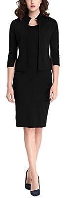 GARMOY Women's Vintage 2 Pieces 3/4 Sleeve Wear To Work Party Bodycon Dress