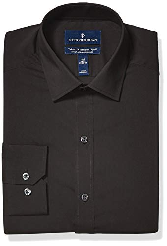 - BUTTONED DOWN Men's Tailored Fit Tech Stretch CoolMax Easy Care Dress Shirt, Black Caviar, 18.5