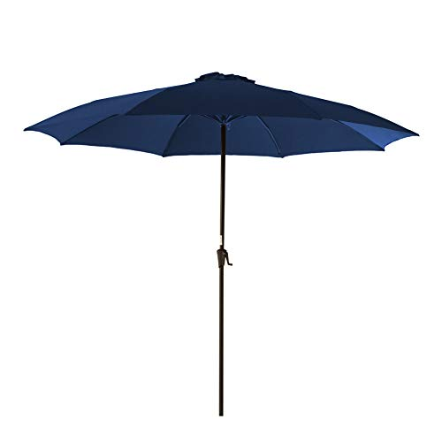 (C-Hopetree 11FT Outdoor Patio Umbrella for Outside Balcony Table Deck Terrace Garden or Pool Large Market Style, Navy)