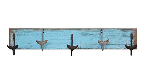 - Creative Co-op Distressed Blue Wood Wall Décor with 5 Metal Whale Tail Shaped Hooks