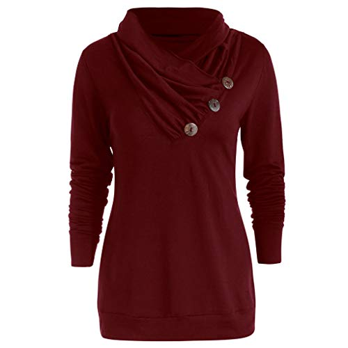 Fashion Women Casual Cowl Neck Button Embellished Long Sleeve T-Shirt ()