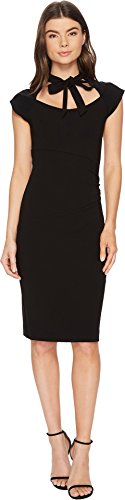 Nicole Miller Women's Structured Heavy Jersey Neck Tie Dress Black ()