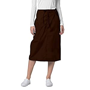 Adar Universal Mid-Calf Length Drawstring Skirt (Available is 17 colors) - 707 - Chocolate Brown - Size 20