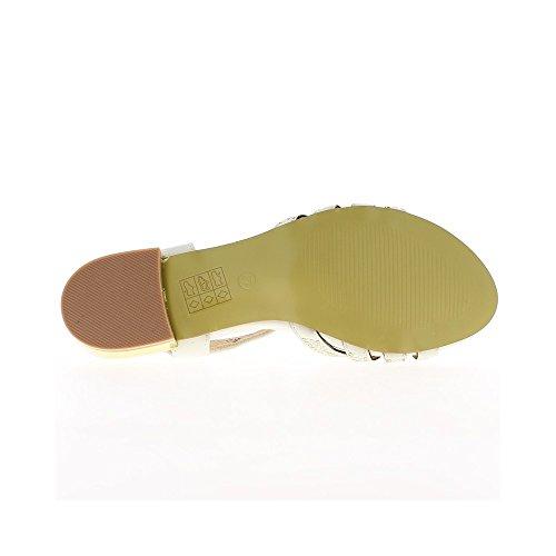 Sandali bianco verniciato tacco di 7cm e 1 pad cm