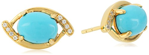 Yellow Gold-plated Silver Stabilized Natural Turquoise And Created White Sapphire Evil Eye Stud Earrings
