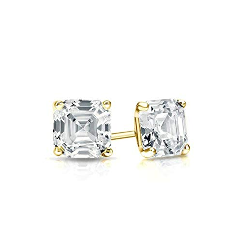 (Yellow Gold Diamond Solitaire Asscher Cut 2.00 ct CZ Stud Earrings 18K(750) Hallmarked Screw Back, Color D, Clarity)