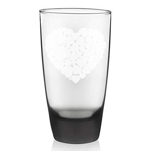 Hearts in Heart Custom Etched Smoke Drinkware Beer Glass 18 oz HD-01