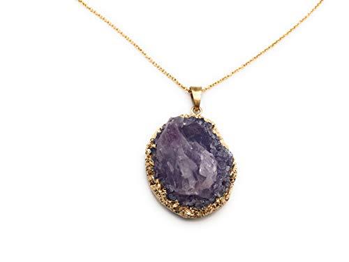 xinpeng Rose Quartz Amethyst Pendant Necklace Raw Gemstone Stone Crystal Facet Irregular 24