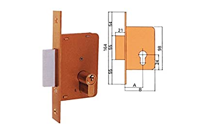 Ezcurra M29376 - Cerradura embutir hierro latonado 4200-35