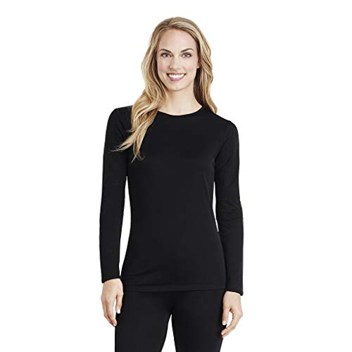 Cuddl Duds Women's Softwear with Stretch Long Sleeve Crew Neck Top, Black,...