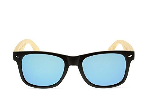 de MOSCA Gafas BLACK modelo ICE and NEGRA BLUE wood MIX madera sunglasses SOLID Awq4p