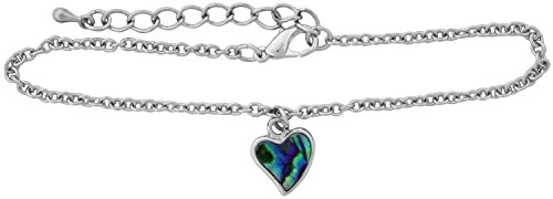 Stainless Steel and Paua Shell Heart Anklet with 2