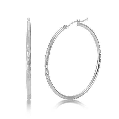 (Satin Diamond Cut 14k White Gold 2mm x 40mm Click Top Tube Hoop Earrings - By Kezef Creations)
